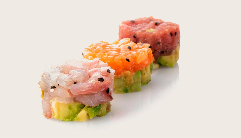3 tartare con salmone, tonno, ricciola e avocado