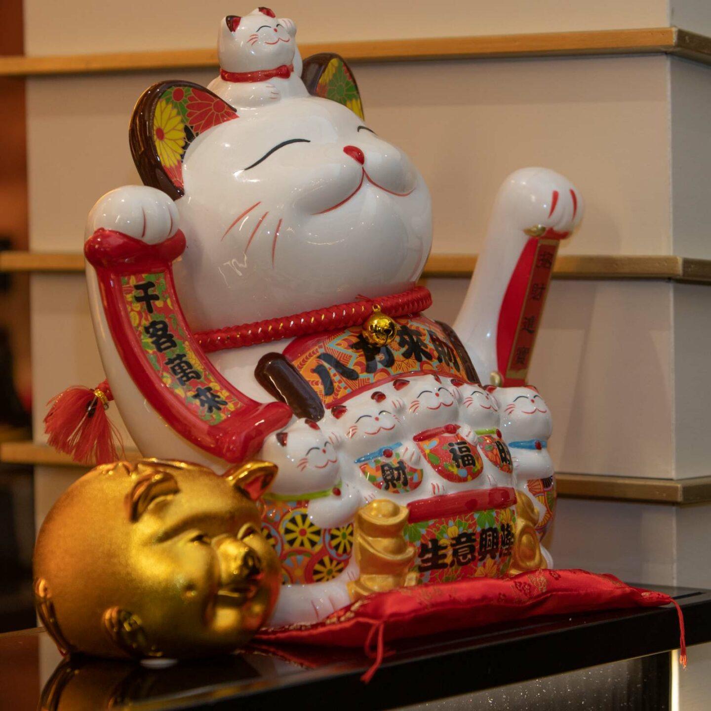 maiale e gatto cinese come oggetti di arredamento ristorante