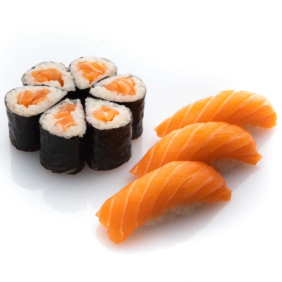 9 pezzi di sushi e nigiri con salmone